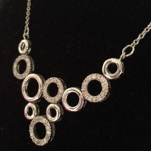 """Sterling Silver CZ Clustered Circles Necklace 18"""""""